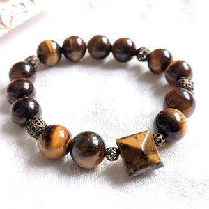 Unisex  Elegant  Tiger eye gemstone Bracelet/Stretchable/Healing stone